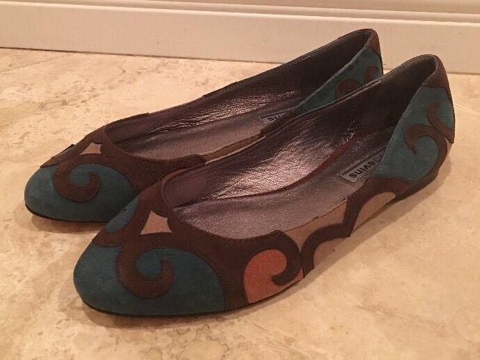 Reed Evins Marrón Cuero Gamuza verde Azulado tan tan tan único Ballet Zapatos sin Taco Sin 9M Nuevo Italia 6b1dba