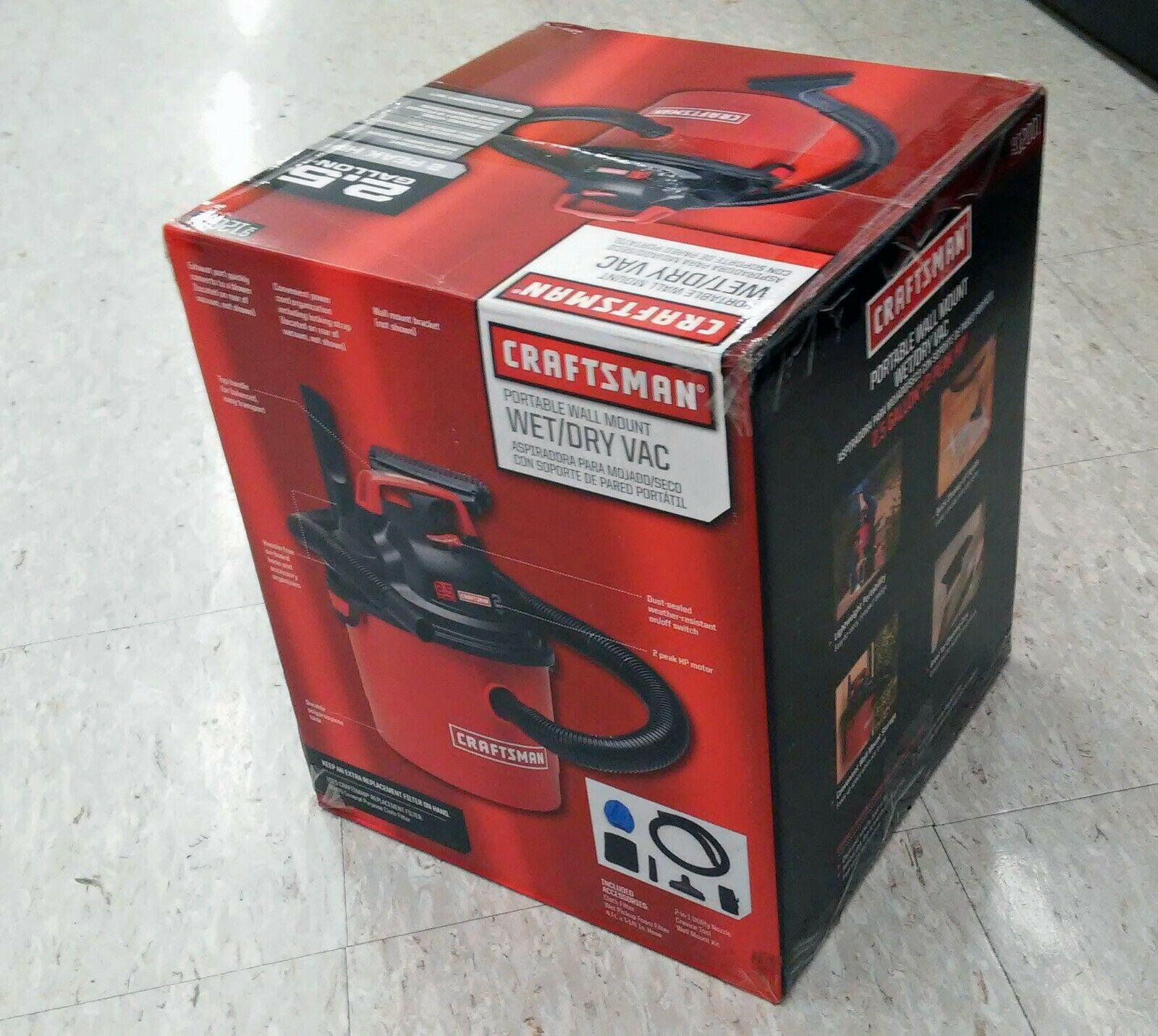 Craftsman Wall Mount Wet Dry Vacuum Blower Portable Shop Set 2.5 Gal 2 HP