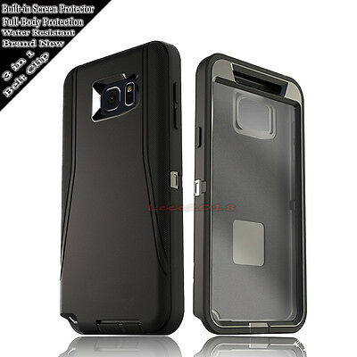 SUPER DURABLE BLACK CASE HOLSTER FOR SAMSUNG GALAXY Built in Screen Protector