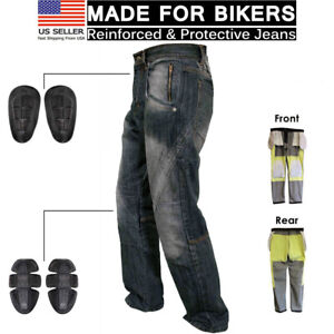 Mens-Motorcycle-Protective-Lined-Jeans-Knee-Armour-Biker-Denim-Trouser-Pant