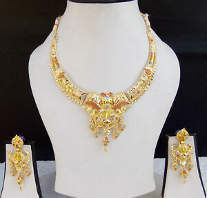 Bollywood-Fashion-Jewelry-Ethnic-Indian-Gold-Plated-Bridal-Necklace-Earrings-Set