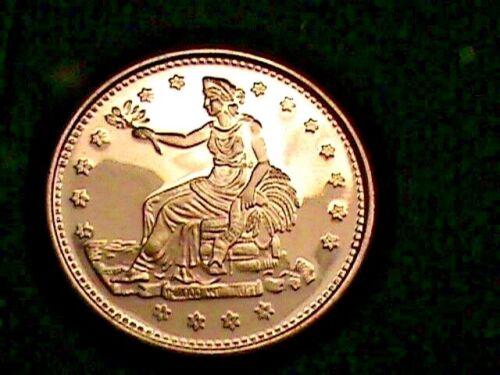 Copper Round .999~Silver Dollar size 1885~Trade Dollar~DESIGN on A~1 OZ
