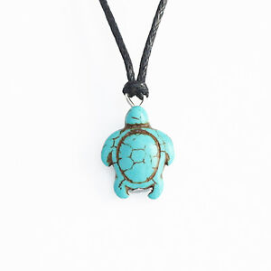 Suede Turtle Choker Turquoise Blue Tibetan Silver Eco Sea Cord Necklace Present