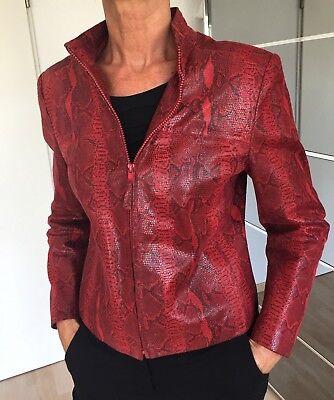 Details zu Lederjacke rot, Marke BIBA, Gr. 36, Schlangenmuster, glänzende Optik, Biker Stil