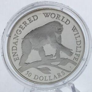 Cook Islands 50 Dollars 1990 Wildlife Chimpanzee Silver