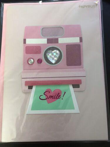 NIP Papyrus Happy Valentine's Day Card Embellished Gems Camera Valentines $7.95