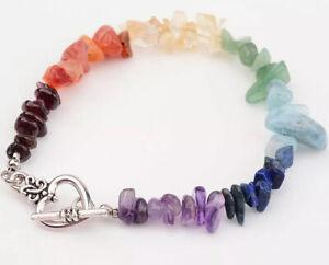 Chakra Bracelet Crystal Gemstone Love Reiki Healing Chakra Heart Charm Silver UK