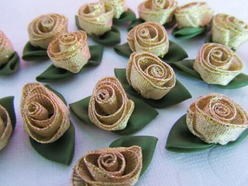 "144 Holiday Golden Ribbon Swirl Fleur Rose//Tulip 1/"" Applique//TRIM//nœud F86-Or"