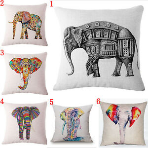Colorful Bohemian Elephant Cotton Linen Pillowcase Sofa Cushion Cover Home Decor Ebay