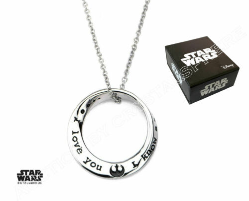 Mobius Pendant Necklace I Love You I Know Star Wars Officially Licensed