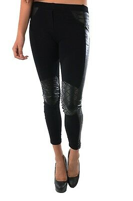 NEW Women's Black Stretchy Fit Faux Leather Quilted Knee Panel Moto Leggings