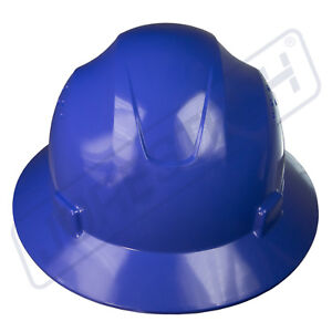 BLUE-HARD-HAT-FULL-BRIM-JORESTECH-4-POINT-RATCHET-SUSPENSION-CONSTRUCTION-ANSI
