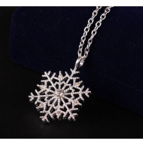 Christmas Crystal Snowflake Silver Charm Chain Necklace Pendant Jewelry Gifts A+