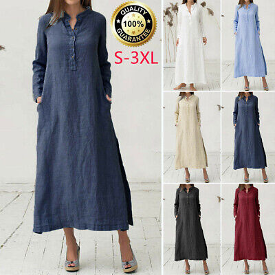 UK Women Long Sleeve Cotton Linen Oversized Casual Loose Baggy Kaftan Maxi Dress