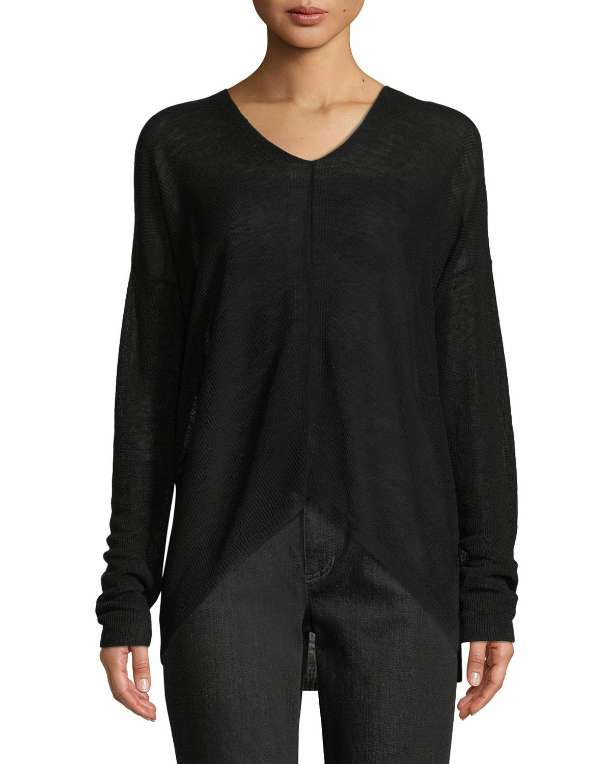 NWT Eileen Fisher Organic Linen Lyocell Box Sweater in Black - Size S  S1296