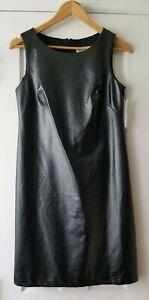 New Shelby Palmer dress size 4 black faux leather sleeveless sheath NWT