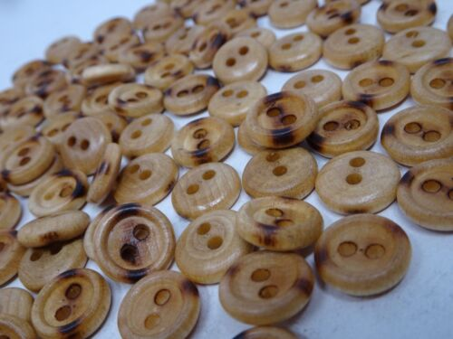 Vintage Wood with Burn Marks with Character 2-Hole Buttons 13mm Lot of 13 B43-2