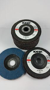 10 x Fächerscheiben, Schleifmopteller Ø125 gerade, blau, Korn 80, KF450