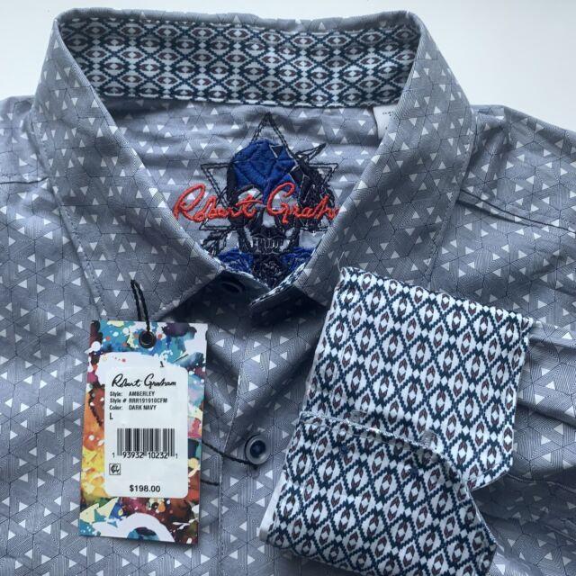 NWT Robert Graham men/'s size XL long sleeve button down shirt,geometric pattern