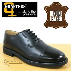 f0c3e35dc2242 Details about Grafters On Parade Mens Boys Capped Oxford Cadet Boots Black  Leather Dress Shoes