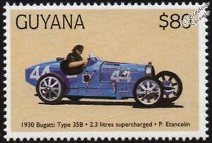 Actif 1930 Bugatti Type 35b (philippe Etancelin) F1 Gp Racing Car Stamp (1998 Guyana)