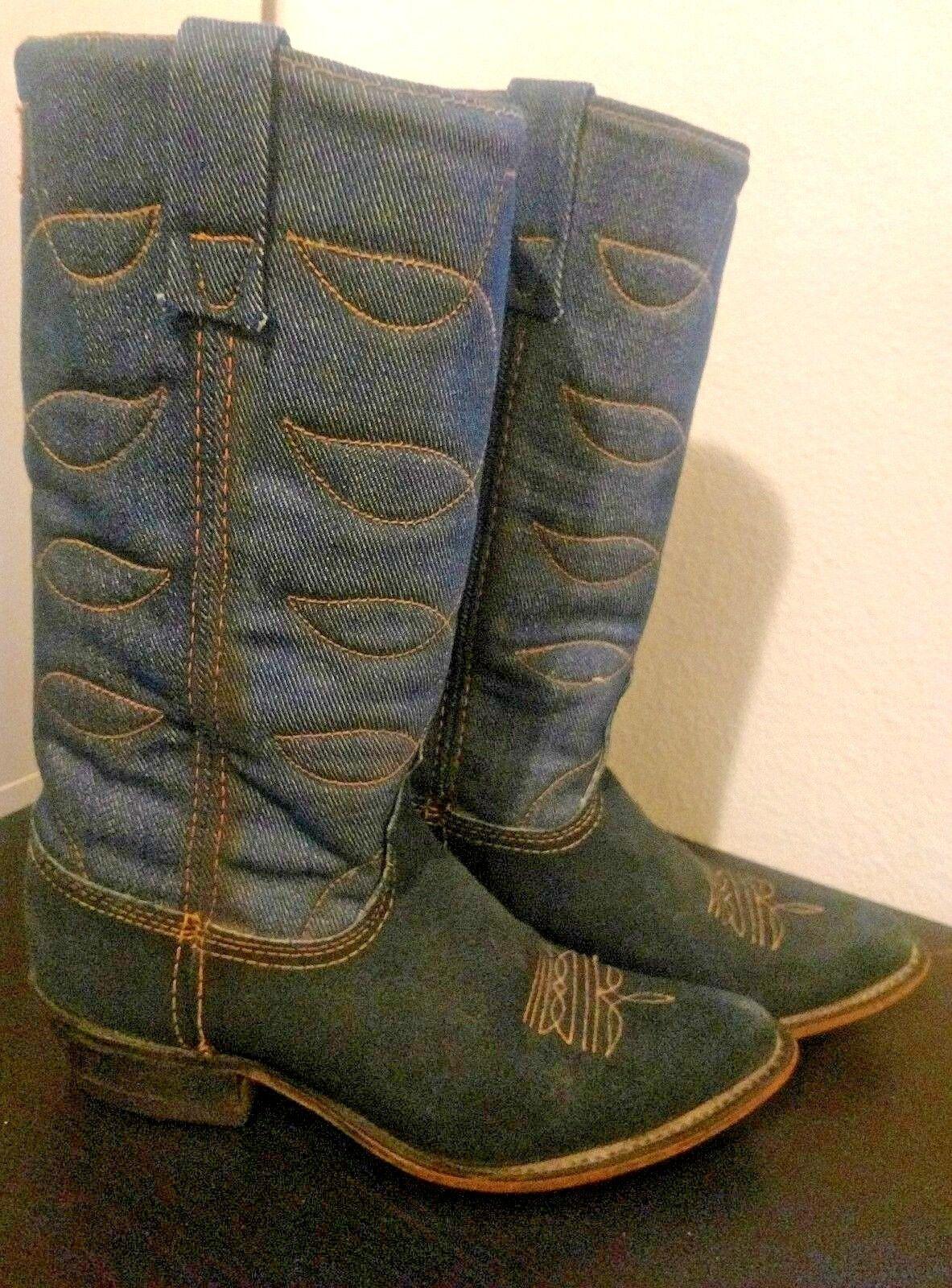 ACME women's boots vintage blueE SUEDE DENIM LEATHER COWBOY WESTERN size 6 M