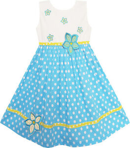Girls-Dress-White-Dot-Blue-Embroidered-Flower-Party-Kids-Clothes-Size-2-6