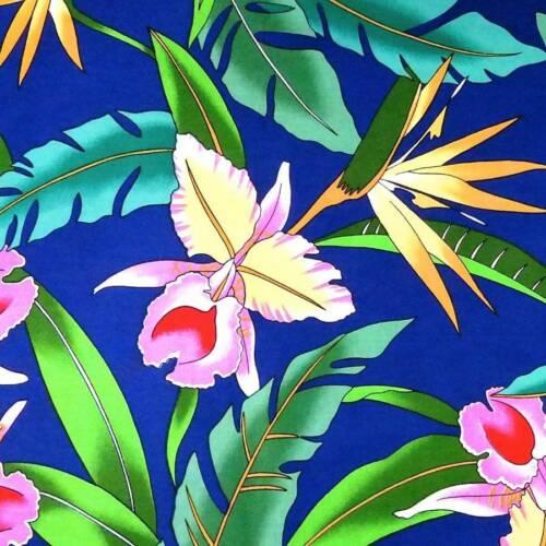 Gold Palekaiko on Blue BTY Alexander Henry Hawaiian Print Pink /& Yellow Okika