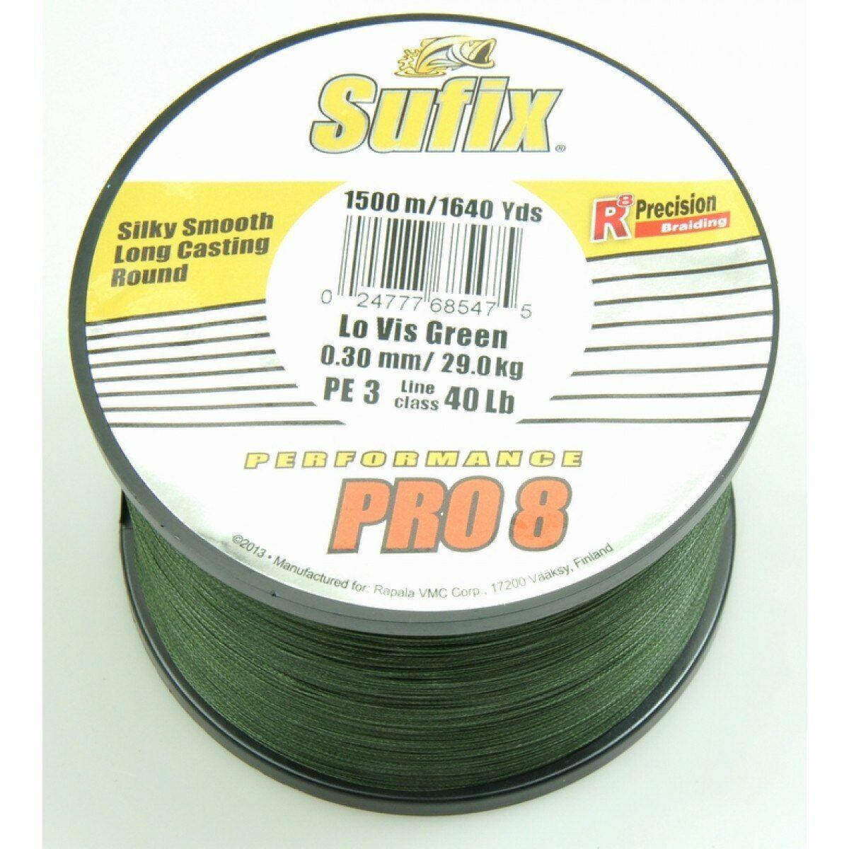 SUFIX Prestazioni Pro 8 LOW VIS verde 1500m Intrecciato Linea diametro varie