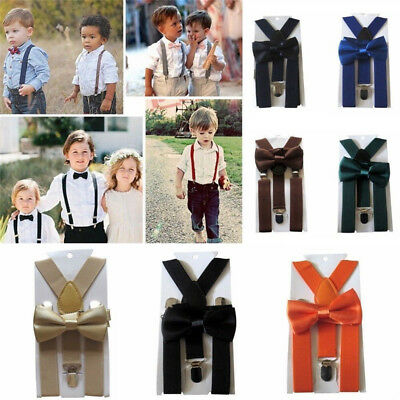 Matching Braces Suspenders and Luxury Bow Tie Set Kids Children Boy Girl Wedding