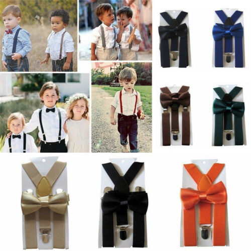 Matching Braces Suspenders and Luxury Bow Tie Set Kids Children Boy Girl Wedding