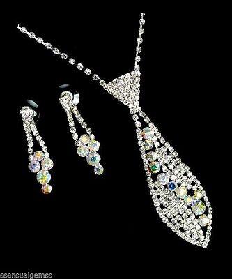 Rhinestone & Crystal Neck tie Swirl Necktie Ladies Woman's Necklace Earrings