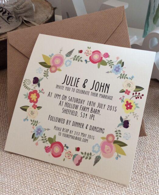 Vintage/Rustic/Shabby Chic 'Julie' floral Wedding Invitation & Envelope