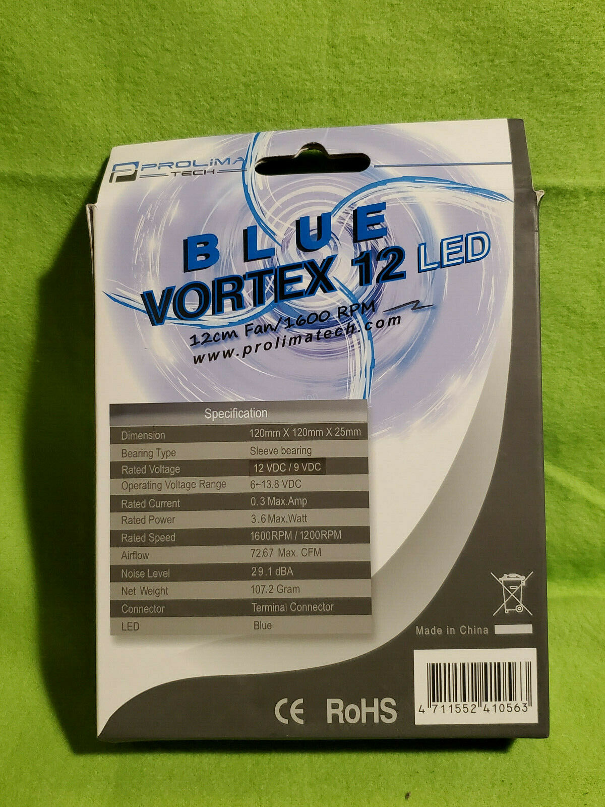 Prolimatech Blue Vortex 12 LED High Static Pressure and Airflow Fan 120mm