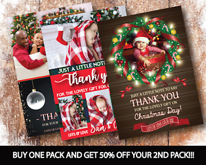 10-x-Personalised-Christmas-Thank-You-Cards-Notes-With-Photo-Envelopes