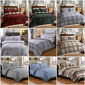 Tartan-Flannelette-100-Brushed-Cotton-Duvet-Cover-Bedding-Set-With-Pillowcases