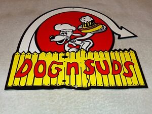 VINTAGE-DOG-N-SUDS-ROOT-BEER-11-034-METAL-DINER-RESTAURANT-SODA-POP-GAS-OIL-SIGN-2