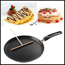 24cm Non Stick Crepe Pan Pancake Toughened Black Smooth Finish + Wooden Spreader