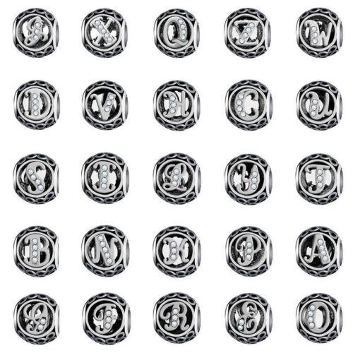 European Letter Silver Bead Alphabet Charm Fit 925 Genuine Sterling Bracelet