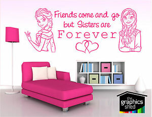 frozen wall art sticker elsa anna  sisters hearts