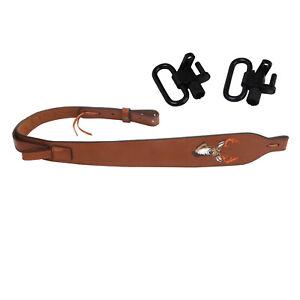 Tourbon-Leather-Rifle-Sling-Swivels-Set-Strap-Shooting-Gun-Hunting-Shooting-Kits