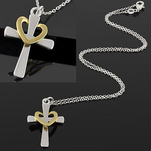 Girls-Silver-Palated-Jewelry-Cross-heart-Love-Charm-Pendant-Chain-Necklace-Gift