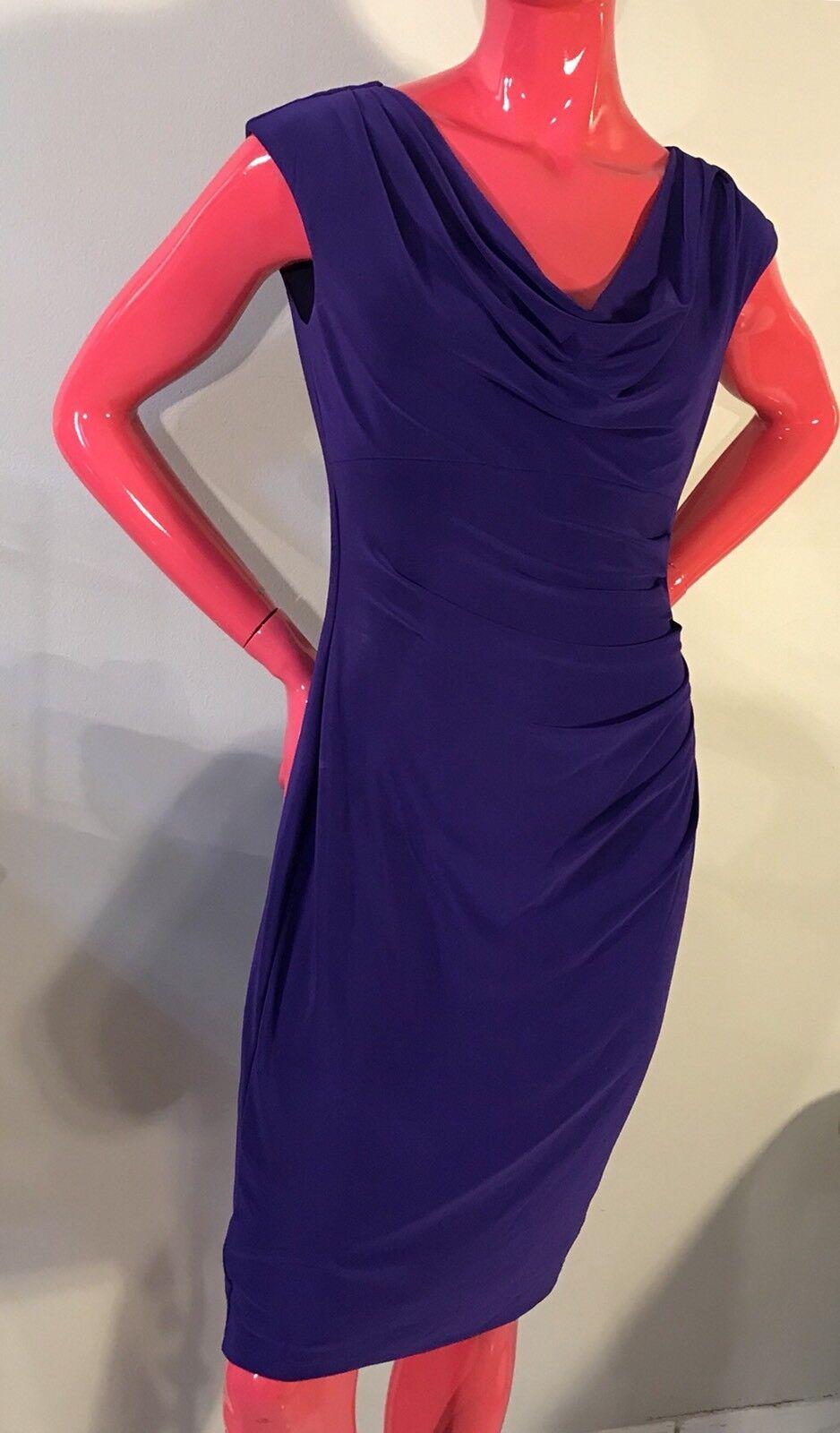 RALPH LAUREN Dress ESSENTIALS HYDRANGEA FIT&STRETCH SLEEVELESS Purple Sz  10 NWT