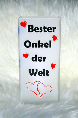 """Geschenk Tischleuchte personalisierte Tischlampe /""""Bester Onkel/"""""""