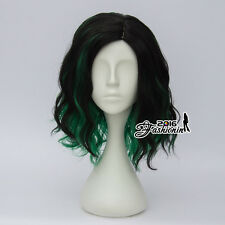 35CM Black Mixed Green Lolita Curly Women Party Hair Cosplay Wig Heat Resistant