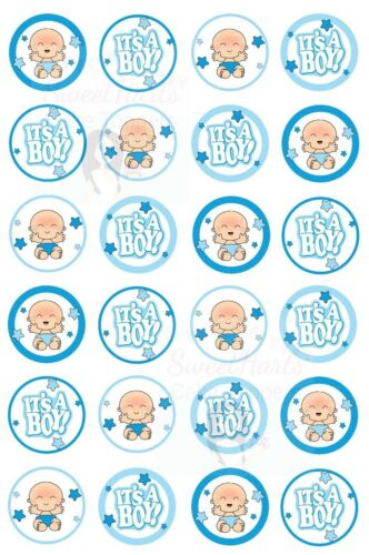 BABY BOY SHOWER CUPCAKE TOPPERS X24 EDIBLE RICE PAPER FAIRY CAKE DECORATIONS