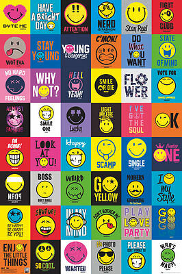 SMILEY COMPILATION - COLLAGE POSTER - 24x36 CUTE EMOJIS 34128