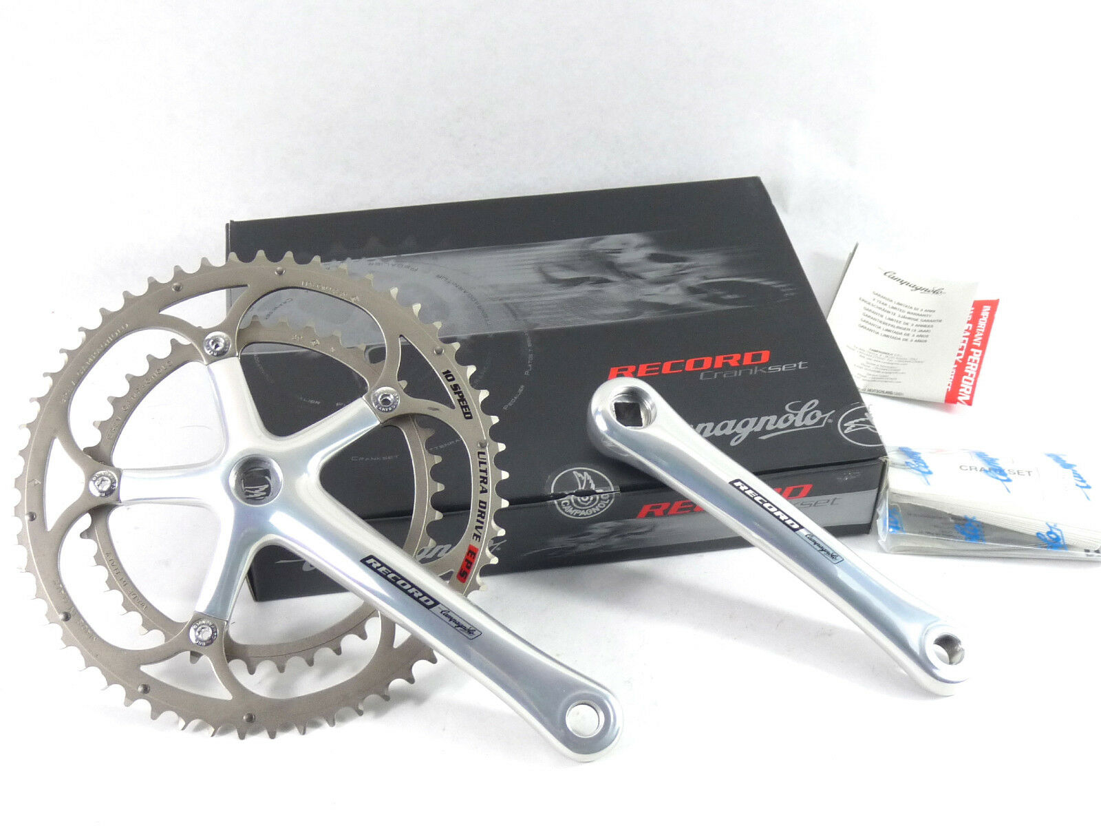 Campagnolo Record 10 Speed  Crankset 172.5mm 53-39 Ultra Drive EPS 2006 NOS  a lot of surprises