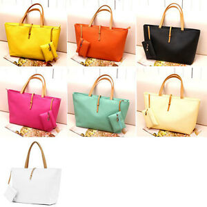 Fashion-Women-039-s-Classic-PU-leather-Tote-Bag-Handbag-Black-Beige