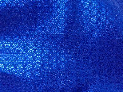 "Royal Blue Bling Bling Metallic Flower Brocade Fabric 44""W Wedding Decor Drape"